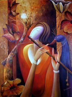 Beenu Gupta Krishna Painting, Krishna Art, Krishna Leela, Hare Krishna, Indian Artwork, Indian Art Paintings, Indian Contemporary Art, Contemporary Paintings, Art World