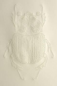 "Beetle illustration using a technique called ""pecking"" by Pascale Malilo. Kirigami, Illustrations, Illustration Art, Drawn Art, Insect Art, Art Plastique, Graphic, Creative Inspiration, Paper Art"
