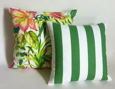 Choose One or mix and match: 1. Tropical Pink and Green decorative throw pillow cover in Lush Flowers and Palm leaves print, Colors include many shades of green with pink and hints of yellow on a pure white background. Indoor use only. For scale: pillow cover shown is 20x20. 2. The Polo striped pillow cover is green and white slub cotton, each stripe is 2 wide. Indoor use only. 3. Banana Leaf pillow cover has many shades of green on an ivory background, with hints of black and brown…