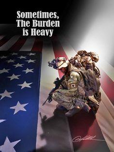 Soldiers Heavy Burden - American Heroes