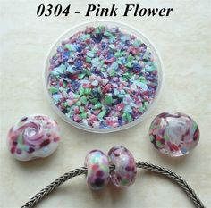 0304 Pink Flower  Glass Frit Blend  K1  COE by BeadTreasures4You