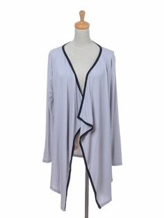 $14.00 awesome Anna-Kaci Free Size Light Grey Long Sleeve Asymmetrical Hemline Open Cardigan