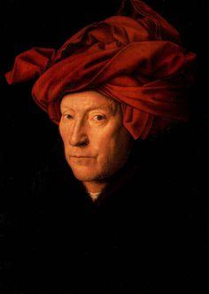 """1. Homme au turban rouge. Jan van Eyck. 1433. huile sur bois.  Le peintre flamand Jan Van Eyck  a inauguré nombre de  procédés liés à l'art du portrait : alors que la tendance était auparavant-et toujours de mise en italie- de saisir le sujet de profil,Van Eyck et ses contemporains ont misé sur le réalisme de la tournure 3/4; les détails sont décrits avec soin et sans concession,tandis que le personnage scrute le spectateur: un face à face direct s'accomplit ,le sujet devient """"parlant""""."""