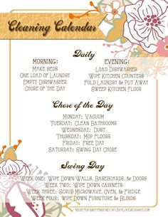 Free Cleaing Calendar -- lots of different styles to help you keep a cleaning schedule