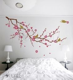 Tree nature birds flower Cherry Blossom Branch Wall por NouWall, $65,00