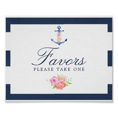 Watercolor Floral Nautical Wedding Favors Sign