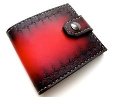 Red Tooled Leather Bifold Wallet with Snap by SanFilippoLeather, $120.00