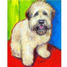 Wheaten Terrier Art Print from original Painting, 8x10, Wheatie Bright. $12.00, via Etsy.