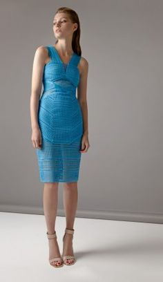 Beautifully cut from geometric lace, this striking ocean blue dress features semi sheer elastic panels and body contouring lines that sculpt the silhouette. Blue Dresses, Formal Dresses, Pacific Blue, Body Contouring, Three Floor, Luxury Fashion, Bodycon Dress, Lace, Shopping