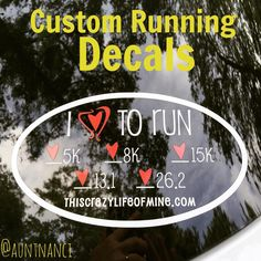 Share your accomplishments with a custom running decal! You choose race distances, color of hearts, and copy for bottom line. $10 shipped! #running #runningdecal #bling #runners #stickers #vinyl #decal