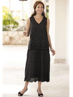 aec80ac4ea4 BLACK EYELET LONG DRESS (ULLA POPKEN) Eyelet Dress