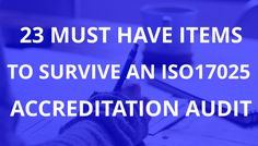 23 Items for ISO17025 Audit