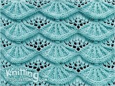 Alsacian Scallops A free knitting stitch pattern for this lovely stitch via Knitting Stitch Patterns. Click through the title link for the patternl. NOT for newbies. Lace Knitting Stitches, Lace Knitting Patterns, Knitting Charts, Lace Patterns, Free Knitting, Baby Knitting, Stitch Patterns, Knitting Videos, Knitting Tutorials