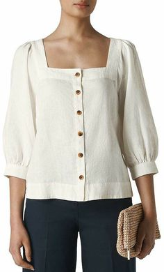 Great for Whistles - Square-Neck Top Womens fashion Tops from top store Womens Trendy Tops, Casual Tops For Women, Blouses For Women, Girls Spring Jacket, Trendy Dresses, Fashion Dresses, Square Neck Top, Blouse Models, Blouse Designs