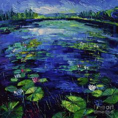 Water Lilies Magic Painting - Water Lilies Magic by Mona Edulesco
