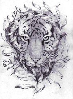 Tiger tattoo for men and women from traditional black and grey designs tatt Tattoo Sketches, Tattoo Drawings, Body Art Tattoos, New Tattoos, Girl Tattoos, Sleeve Tattoos, Tattoos For Guys, Heart Tattoos, Mens Tiger Tattoo