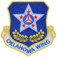 Worn on wearers left sleeve of ABUs. Civil Air Patrol, Armed Forces, Badges, Civilization, Oklahoma, Planes, Air Force, Aircraft, Patches
