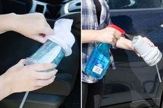 Put an old sock over the bottom of a travel cup, spray with Windex, and twist to remove dirt and grime in cup holders.