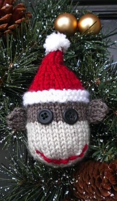 Sock Monkey Christmas Ornament Knitting Pattern-Not Free Knitted Christmas Decorations, Knit Christmas Ornaments, Crochet Ornaments, Crochet Christmas, Christmas Stockings, Handmade Ornaments, Felt Ornaments, Christmas Angels, Christmas 2019