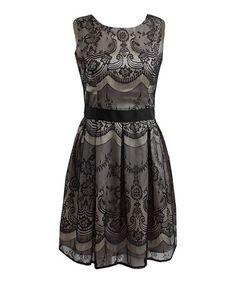 Another great find on #zulily! Cream & Black Ava Dress #zulilyfinds