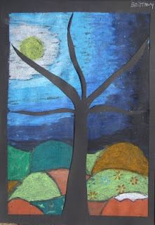 Puzzle trees/svartur pappír,klessulitir og skæri