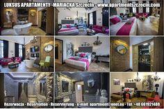 LUKSUS APARTAMENTY -MARIACKA Szczecin Zapraszają do rezerwacji ! Book now ! Buchen Sie jetzt ! Apartament PURPLE 88m2, 3 poziomowy od 1-5 osób Apartament BLACK&WHITE 79m2, 3 poziomowy od 1-6osób Apartament GREY 69m2, 2 poziomowy od 1-4 osób Apartament RED 55m2, 2 poziomowy od 1-3 osób Apartament GRAND ROYAL 40m2, 1 poziomowy od 1-3 osób Apartament POP Art 32m2, 1 poziomowy od 1-4 osób www.szczecinapartamenty.eu www.apartmentszczecin.pl  / e-mail: apartment@onet.eu