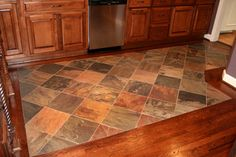 Traditional Kitchen Tile To Wood Floor Transition Vinyl Hardwood Flooring, Hardwood Floor Colors, Slate Flooring, Laminate Flooring, Flooring Ideas, Patio Flooring, Kitchen Tile, Kitchen Flooring, Kitchen Design