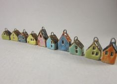 10 Miniature Stoneware House Charms