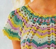Blusa en crochet riple o zig zag Blusa en crochet riple o zig zag . Zig Zag Crochet, Crochet Cardigan, Crochet Stitches, Knit Crochet, Crochet Patterns, Diy Crafts Crochet, Hippie Crochet, Crochet Summer Tops, Crochet Instructions