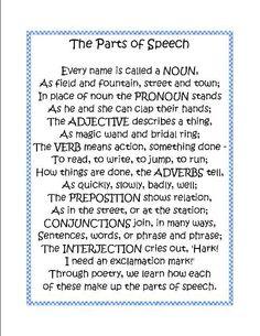 Week 1 English Grammar: Parts of speech poem