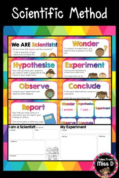 This Scientific Method pack is a great introduction to your science class. American and British spelling is catered for. Included in this Scientific Method Pack; 1) Poster explaining how we are all scientists 2) Posters for each step - wonder, hypothesise, experiment, observe, conclude and report. 3) Cue cards 4) Double sided graphic organiser for students to use to plan and record their experiment © Tales From Miss D