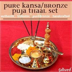 """Pure kansa or bronze thaal set are ideal for Diwali because - Kansa attracts """"sukh"""" happiness, """"samruddhi"""" prosperity, """"shuddhi""""  purification and """"shanti"""" peace into your life. Pure kansa is made by smelting copper tin and thus according to Ayurveda balances all three doshas. It does not tarnish like copper or brass. When struck the bell resonates for very long, inducing a deep meditative state of mind. Diwali Rangoli, India India, Spiritual Meaning, Copper, Brass, Festival Lights, Ayurveda, Celebrations, Tin"""