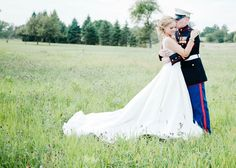 @Chelsea Brovold this is so cute for you and Jeff in his AF uniform for when you get married! Love his arms around her and the dress all out behind her!!!