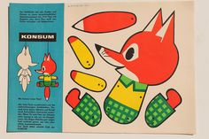 23339 Ausschneide Bastel Bogen KONSUM Fuchs Floxi als Hampelmann DDR 1968