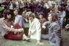 The band called a press conference in Hyde Park, London, on 13 June 1969, to introduce Mick Taylor (centre) as replacement for Brian Jones and announce a free show in the park the following month