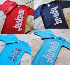 Personalized baby gown with or without hat. You choose colors and fabric. Baby shower gift. Baby gift. Infant gown. Layette. Custom. by…