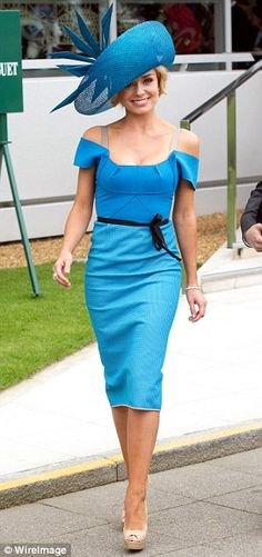 Katherine Jenkins wearing a bright turquoise Roland Mouret number to sing the National Anthem at the Epsom races during the Diamond Jubilee