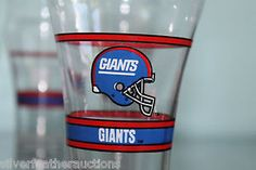 Vintage 1992 NY Giants Coke Glasses - New York cups, Mobil, Coca Cola - Old Logo