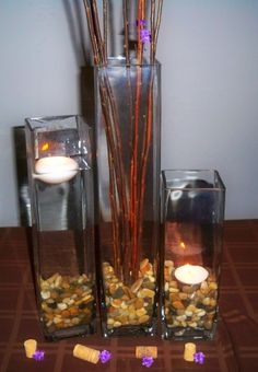 Fall Wedding Centerpiece like the varied heights. Would tie them together with a ribbon or something though