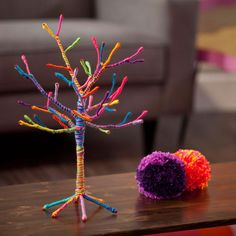 Our yarn tree kit is a fun artsy-craftsy way to create a place for necklaces, bracelets, and earrings to hang out. Kit includes an tall bendable wire tree and a wonderful assortment of colorful yaOur Craft-tastic Yarn Tree kit is the perfect gift for Cute Crafts, Creative Crafts, Diy And Crafts, Paper Crafts, Crafts With Yarn, Yarn Crafts For Kids, Indoor Crafts, Quick Crafts, Fun Arts And Crafts