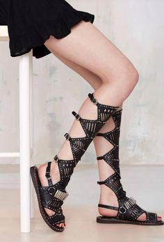 Jeffrey Campbel Isold Leather Knee-High Sandals  can you stop and admire the beauty of this?  I NEED THIS IN MY LIVE