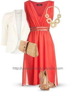 Coral dress, tan accessories, gold jewelry