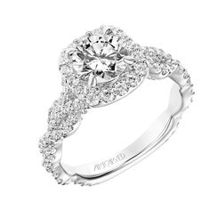 New for our Spring collection! Everly: Contemporary Diamond Cushion Halo Engagement Ring with Diamond Twisted Shank #artcarvedbridal #spring #whitegold #engagementring