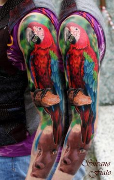 Realistic Parrot Tattoo Sleeve - Silvano Fiato http://bestanimaltattoos.com/realistic-parrot-tattoo-sleeve-silvano-fiato/ 8531 Santa Monica Blvd West Hollywood, CA 90069 - Call or stop by anytime. UPDATE: Now ANYONE can call our Drug and Drama Helpline Free at 310-855-9168.