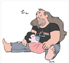 Steven and his dad, drawn by Rebecca sugar.