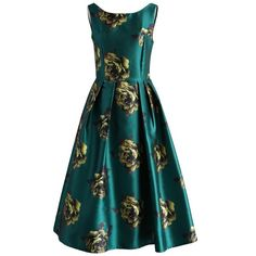 Chicwish Peonies Print Prom Dress in Emerald ($59) ❤ liked on Polyvore featuring dresses, chicwish, green, cocktail party dress, green dress, green prom dresses, green party dress and special occasion dresses