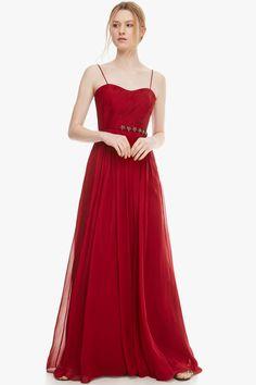 Vestido de seda con apliques de strass - Cóctel | Adolfo Dominguez shop online
