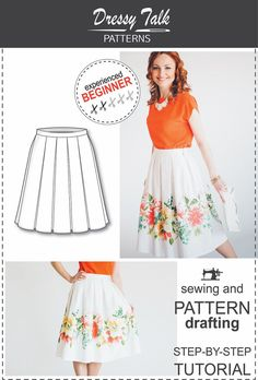 Pleated Skirt  Sewing and Pattern Drafting door DressyTalkPatterns