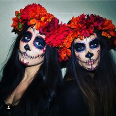 Sugar Skull Sisters Halloween Makeup. Photography & Makeup done by Jasmine Klein