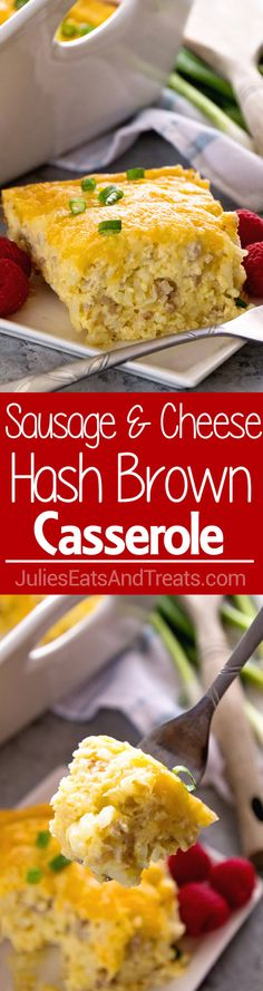 Sausage & Cheese Hash Brown Breakfast Casserole ~ Delicious Overnight Breakfast Casserole with Sausage, Hash Browns, Cheese and a Homemade Gravy! The BEST Breakfast Casserole Ever! ~ http://www.julieseatsandtreats.com Cheese Hashbrown Casserole, Egg Casserole, Breakfast Quiche, Overnight Breakfast Casserole, Breakfast Casserole Hash Browns, Breakfast Items, Breakfast For Dinner, Breakfast Dishes, Breakfast Recipes